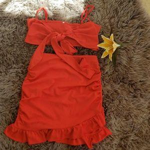 Dresses & Skirts - Lipstick red High Waist Skirt, mini top set